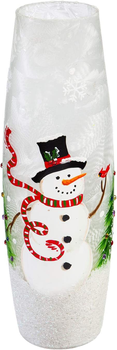 Cypress Home Beautiful Christmas Snowman and Cardinal Hand Painted Glass LED Cylinder Table Décor - 4 x 4 x 12 Inches Indoor/Outdoor Decoration for Homes, Yards and Gardens