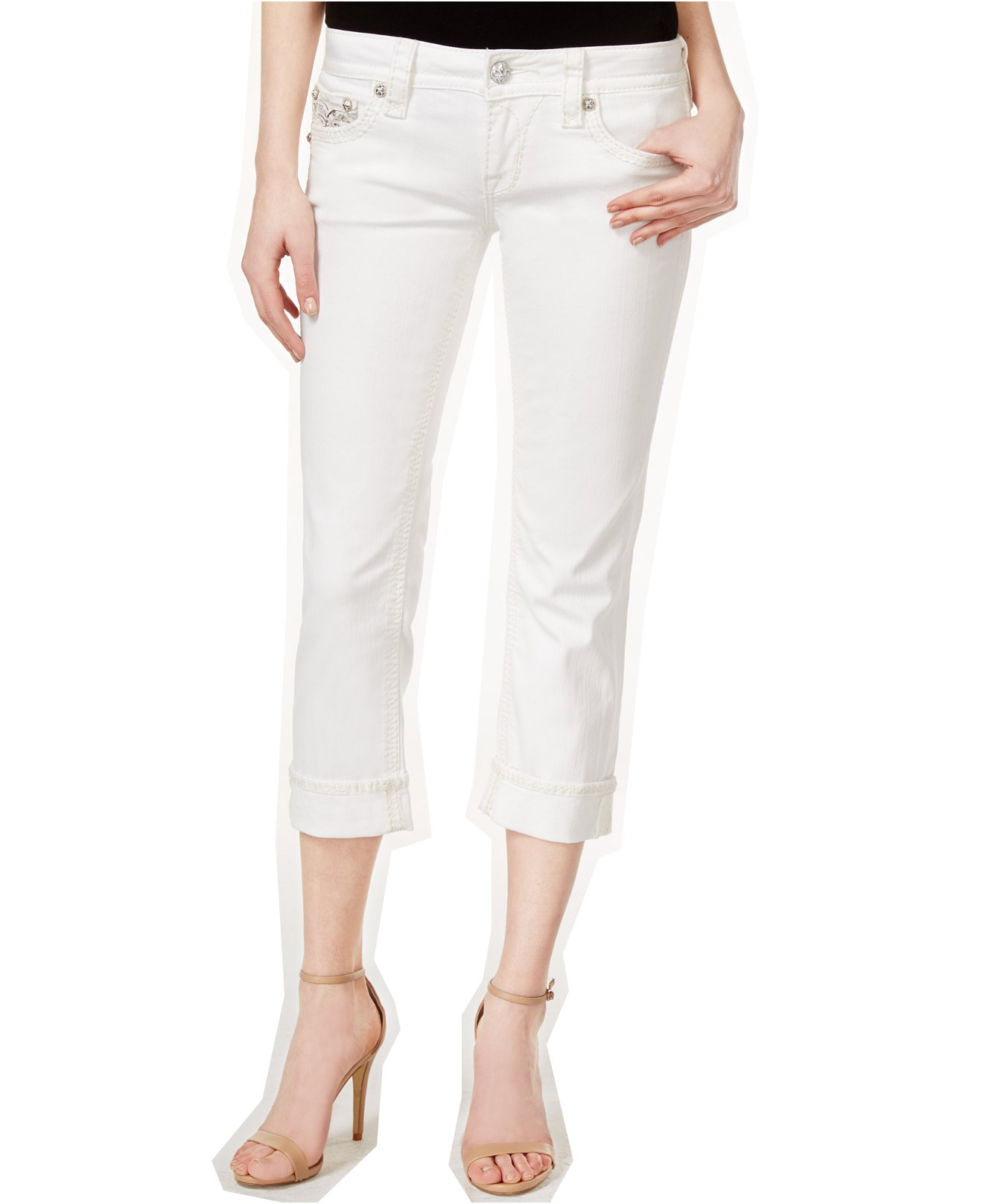 Rock Revival Women's Katie Cropped Embellished Capri Jeans (29 x 22L, White)