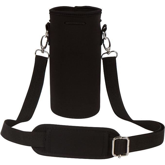 "Neoprene Water Bottle Carrier Bag Pouch Cover, Insulated Water Bottle Holder (32 Oz / 1 1.5 L) W/ 49"" Adjustable Padded Shoulder Strap   Great For Stainless Steel, Glass, Or Plastic Bottles By Mek by Made Easy Kit (Mek)"