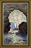 "The Rock Needle Seen through the Porte dAumont by Claude Monet - 17"" x 29"" Framed Canvas Art Print - Ready to Hang"