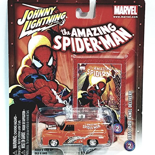 (Johnny Lightning Marvel Series The Amazing Spiderman 1955 Orange Ford Panel Delivery Truck 1/64 Scale)
