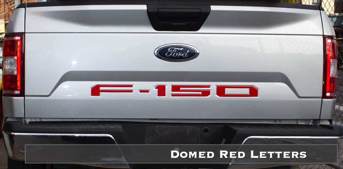 BDTrims Domed Raised Tailgate Letters Inserts fits 2018 2019 F-150 Models Red//Carbon