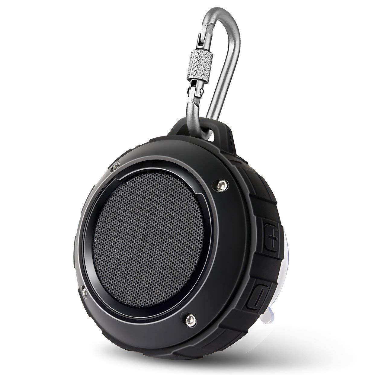 Outdoor Waterproof Bluetooth Speaker,Kunodi Wireless Portable Mini Shower Travel Speaker with Subwoofer, Enhanced Bass, Built in Mic for Sports, Pool, Beach, Hiking, Camping (Black) by Kunodi