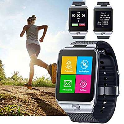 SpyGear-Indigi GSM UNLOCKED Color Touch Screen Bluetooth Spy Camera Smart Watch Cell Phone - Great Gift! - Unlocked AT&T / T-Mobile - (Silver) - indigi