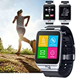 Indigi® GSM UNLOCKED Color Touch Screen Bluetooth Spy Camera Smart Watch Cell Phone - Great Gift! - Unlocked AT&T / T-Mobile - (Silver)