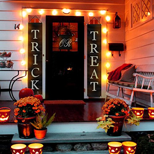 PartyTalk 3pcs Trick or Treat Halloween Banner Outdoor, Halloween Hanging Sign for Home Office Porch Front Door Halloween Decorations by PartyTalk (Image #5)