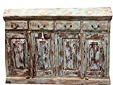 Mogulinterior Antique India Sideboards Buffet Distressed Green Drawer Chest Dresser Storage