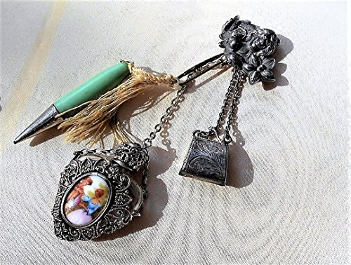 CHATELAINE BROOCH 1905 Art Nouveau Sterling Lady Brooch, Wood Mechanical Pencil, Filigree Heart Perfume, Sterling Stamp Purse. One of a Kind! (Filigree Perfume)