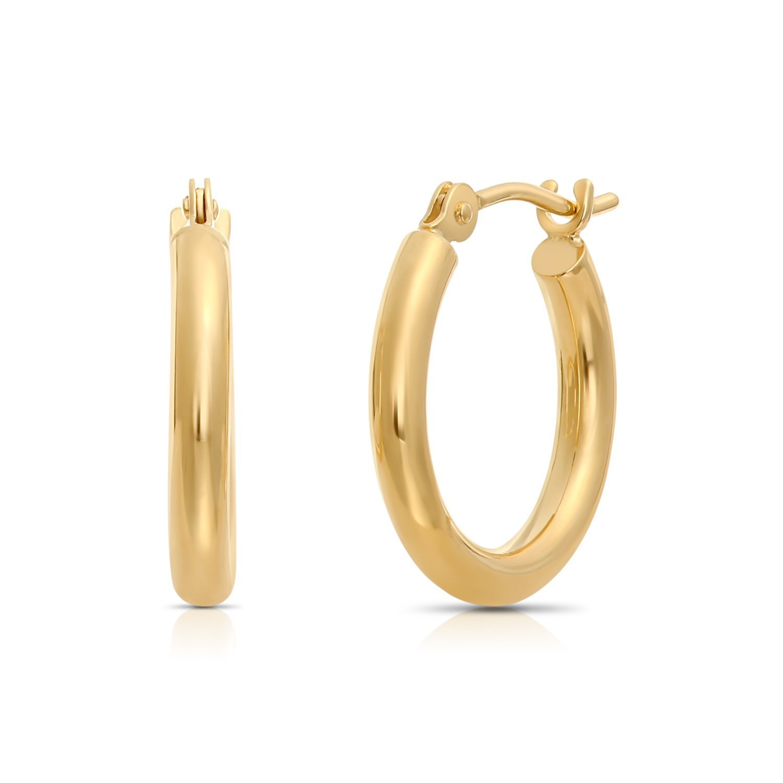 12mm Diameter Tiny 14k Gold Extra Small Hoop Earrings