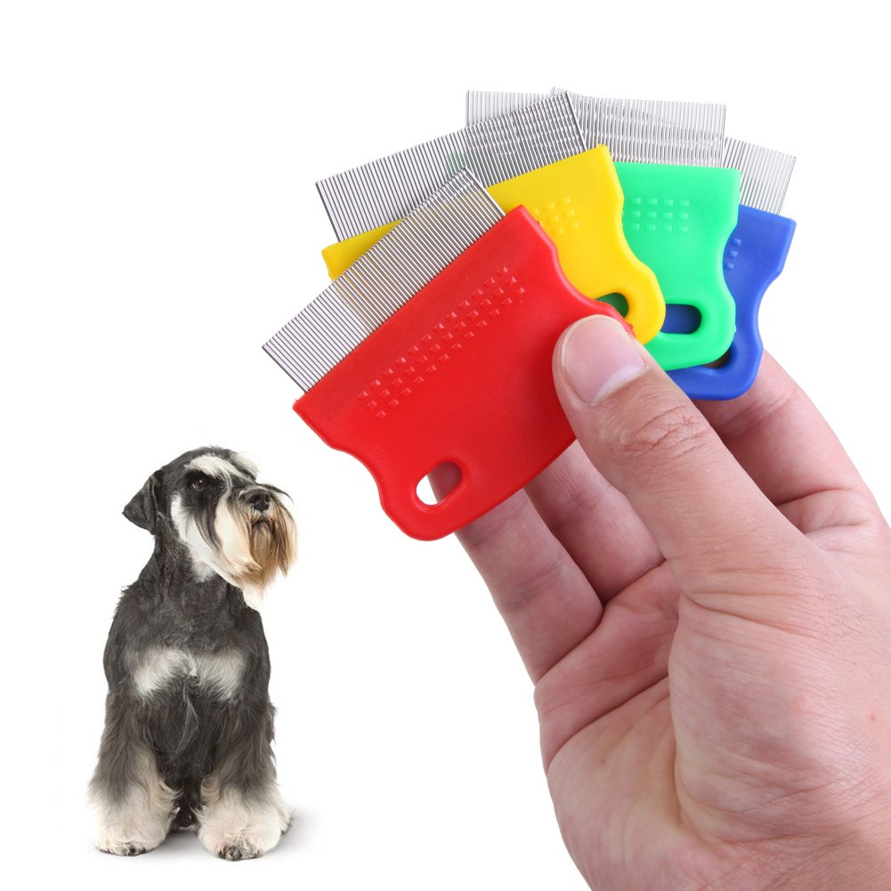 Vktech One piece Pet Fine toothed Comb Cat Dog Grooming Steel Flea Comb Random Color by Vktech (Image #2)