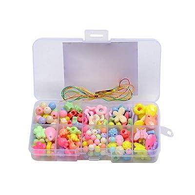 1set Bolas De Bricolaje Fijaron Para La Joyería Que Hace Granos Del Crafting Variedad De Formas De Colores Kit Para Las Pulseras Collar Que Hacen Multicolor: Juguetes y juegos