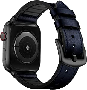 OUHENG Compatible with Apple Watch Band 44mm 42mm, Sweatproof Genuine Leather and Rubber Hybrid Band Strap Compatible with iWatch Series 6 5 4 3 2 1 SE, Dark Blue Band with Black Adapter