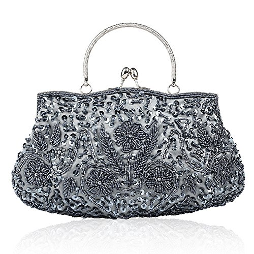 Floral Clutch Collection Sequin Bead Soft Antique Evening Clutch Handbag Purse Designer Seed Gray Large Bag 5xxqR7Hwp
