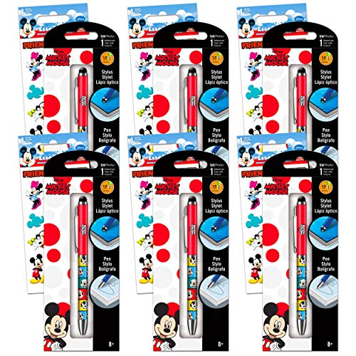 Disney Mickey Mouse Party Supplies Set - 6 Pack Mickey Mouse Pen Set with Mickey Mouse Stickers Disney Mickey Mouse Office Accessories (Mickey Mouse Office Supplies Office Decor)