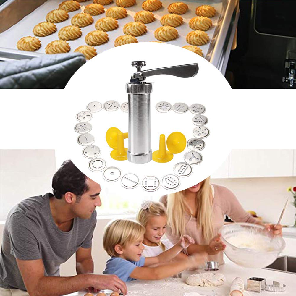LYOOLY Cookie Press Biscuit Maker Cookie Presses Cheese Dessert Spritz Cookies Press with 20 Disks and Icing Tips, Comfort Grip Cake Decorator Gun Kit by LYOOLY (Image #3)
