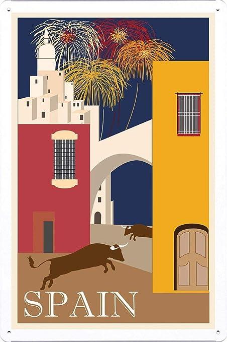 Amazon com: Tin Sign of Retro Vintage Travel Poster Spain