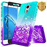NageBee Compatible Huawei Ascend XT 2 (H1711) / Elate 4G LTE w/[Full Coverage Tempered Glass Screen Protector], Glitter Liquid Quicksand Flowing Sparkle Shiny Bling Diamond Cute Case -Aqua/Purple