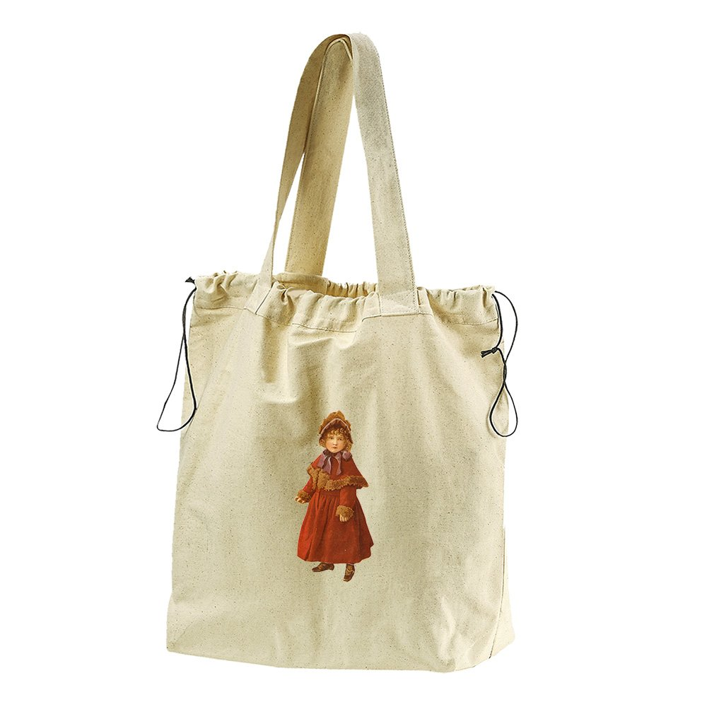 Girl In Warm Red Coat Canvas Drawstring Beach Tote Bag