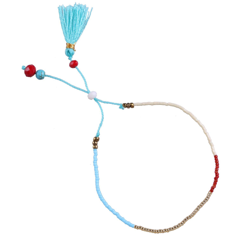 KELITCH Seed Beaded Rope String Tassel Charm Friendship Bracelet Kelitch Jewelry CAZX01