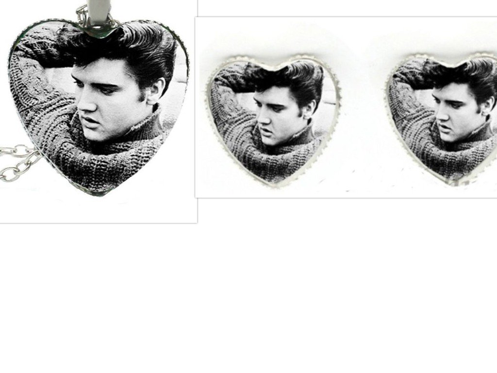 Young ELVIS Heart 20'' Necklace & Earring Set.Covered by Lightweight Glass Cabochon.Perfect for Adoring ELVIS Fans