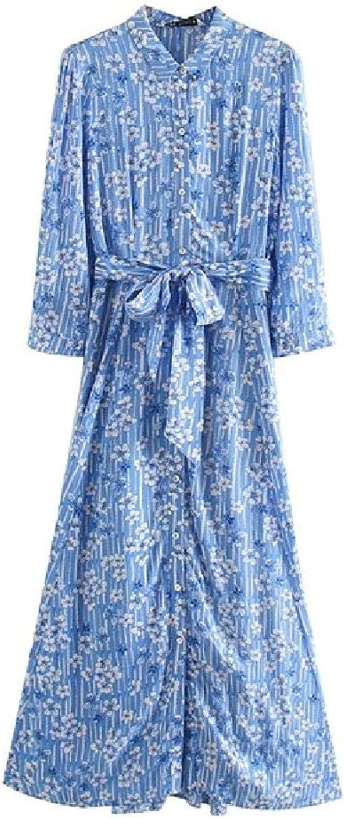 nobrand Mode Frauen blau Blumen drucken Kleid mit Schrägstrich