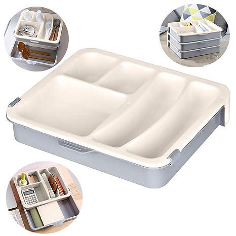 Towinle Schubladen Organizer Set Ordnungssystem für Küche Büro Schminktisch  Kosmetik Variabel Schubladen-Einteiler Trennsystem (Khaki)