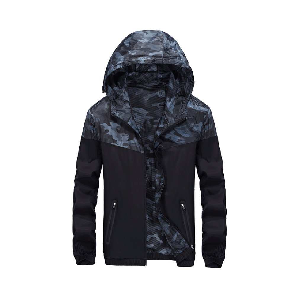 FeN Men's Sun Protection Clothing Outdoor Quick-drying Windbreaker Simple Wild Sports Comfortable Youth Long-Sleeved Coat -summer New (Color : 2, Size : 4XL)