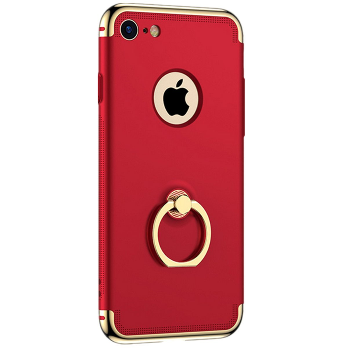 Mpei iPhone 6 Plus Case with Ring Holder Kickstand Function, Matte Coated Surface with Electroplate Frame Hard Cover for Apple iPhone 6s Plus (iPhone 6 6S Plus, Red)