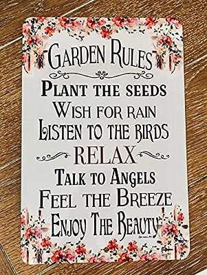 DYENAMIC ART Garden Rules Sign Garden Sign 8x12 Indoor/Outdoor Aluminum Sign Home and Garden Decor Gardening Sign