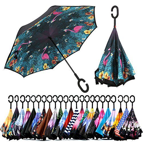 Spar. Saa Double Layer Inverted Umbrella with C-Shaped Handle, Anti-UV Waterproof Windproof Straight Umbrella for Car Rain Outdoor Use (Pink Flamingos) by Spar.saa