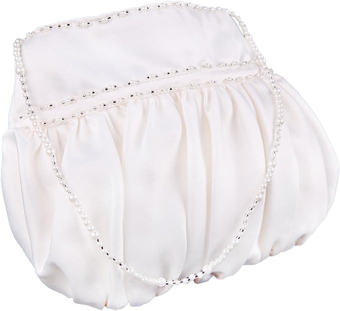 Satin bag flower girl handbag Bridesmaids bag in ivory or white wedding