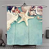Shower Curtain 235563844 Concept of the summer time with fish star and sea shells on the wooden blue background Polyester Fabric bath curtain