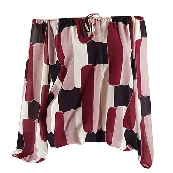 Mujeres Casual Cold Tops Blusa con Hombros Descubiertos Manga Larga Estampada Irregular Camisa ❤ Manadlian: Amazon.es: Ropa y accesorios