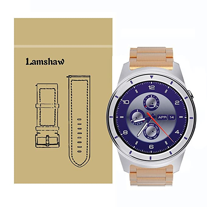 ZTE Quartz Smartwatch Band, Lamshaw Stainless Steel Metal Replacemet Straps for ZTE Quartz Smartwatch (Rose Gold)