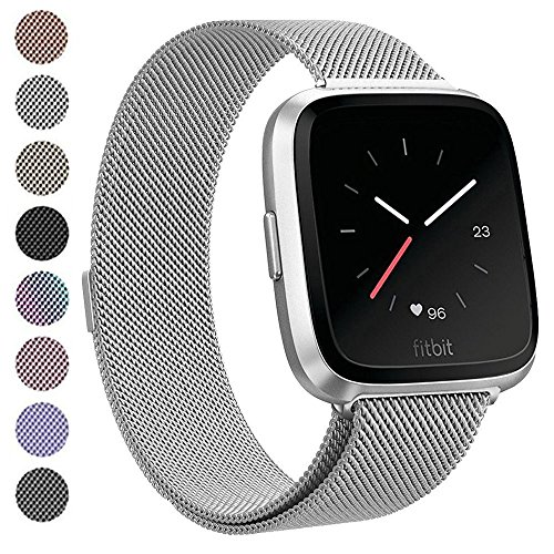 Deyo Compatible Fitbit Versa Bands Women Men,Stainless Steel Milanese Loop Metal Replacement Bracelet Band with Magnetic Closure Accessories Wristbands Compatible Fitbit Versa Smartwatch(Silver Small)
