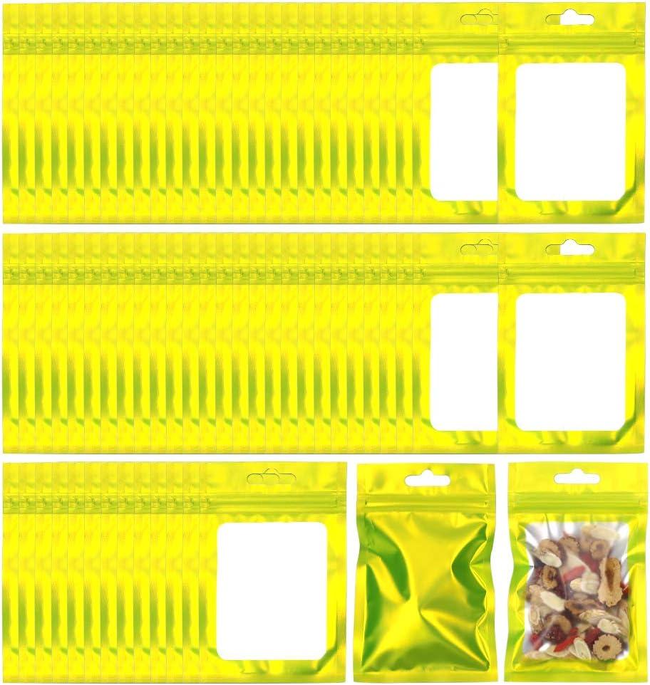 Allure Maek 200 Pieces Mylar Zip Lock Bags Aluminum Foil Bags, Flat Metallic Mylar Foil Flat ZipLock Food Storage Bags Pouch 7.5 x 12 cm/ 3 x 4.7 Inch (Green)