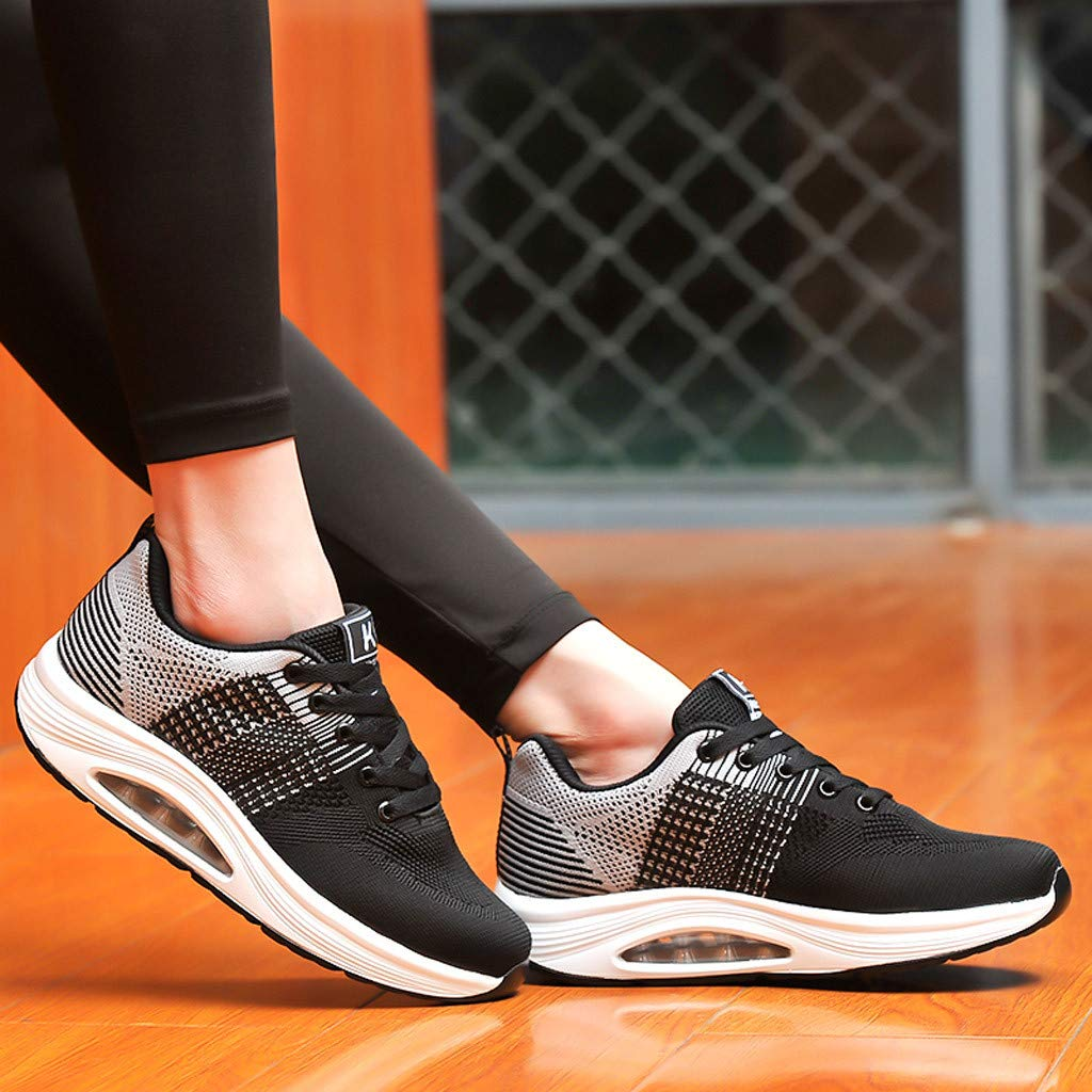 Claystyle Womens Mesh & Leather Lace Up Platform Wedges Walking Sneakers Sports Shoes(Gray,US: 7) by Claystyle Shoes (Image #4)