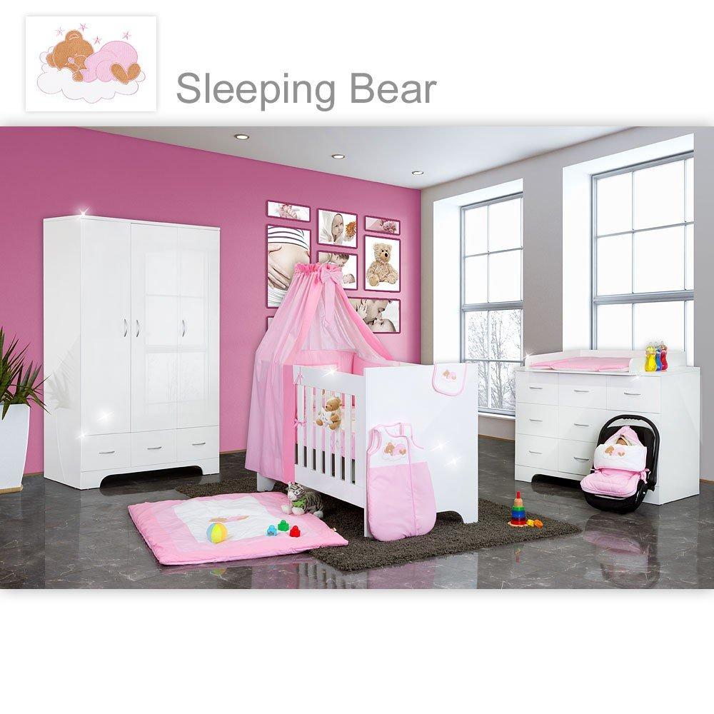Hochglanz Babyzimmer 12-tlg. mit Sleeping Bear in Rosa