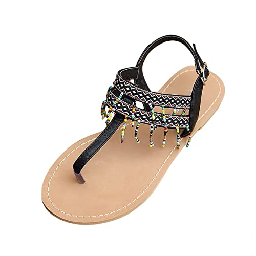 306b79ca731c6 gracosy Women s Summer Sandals Rhinestone Bead Bohemia Folk Round Dunlop Clip  Toe Sandals Boho Beach Flip Flops Flat Slingback Elastic T-Strap Post Thong  ...