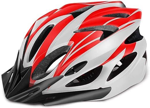 WERT Casco De Ciclismo Casco para Bicicleta EPS PC Road MTB A Prueba De Viento Casco De Bicicleta Moldeado Integralmente 54-64cm, Red(White): Amazon.es: Hogar
