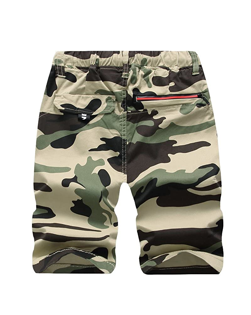 Laus Boys Shorts Summer Camouflage Chino Shorts with Pockets and Drawstring