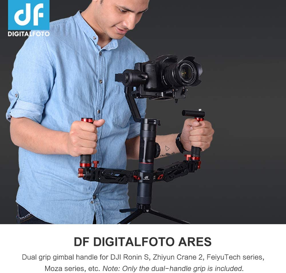 Docooler Dual Handle Grip with 1//4 inch Screw Connector with Aluminum Alloy Articulating Compatible with Zhiyun Crane 2 FeiyuTech AK2000//4000 Series Moza Air 2 Series