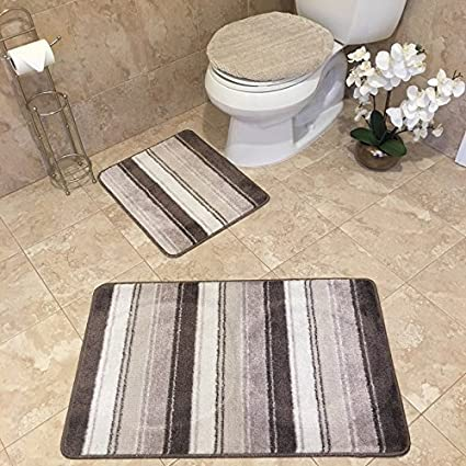 3 piece bathroom rug sets anti bacterial rubber back non skid - Bathroom Rug Sets