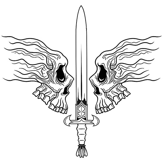 RQQWSJQT Cráneo Halloween Espada Soldado Pegatina Calcomanía De La ...