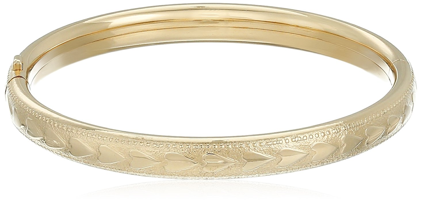 14k Yellow Gold-Filled Children's Heart Pattern Guard and Hinge Bangle Bracelet by Amazon Collection