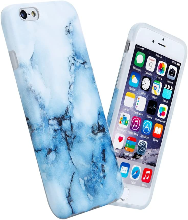 "iPhone 6 6s Case for Girls, Anti-Scratch Anti-Fingerprint, Shock Proof Flexible Soft TPU Case for iPhone 6/6s 4.7"",White Blue Marble"