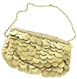 David Jeffery Handbag - Gold Medallions With 24'' Gold Tone Metal Chain Strap, 7''W x 4.5''H