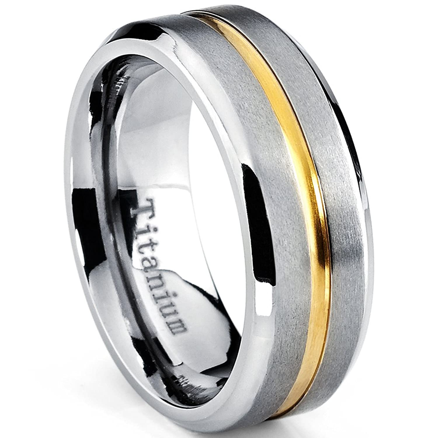 Mens Goldtone Plated Grooved Titanium Wedding Band Ring Comfort Fit 8mm Sizes 7 To 15