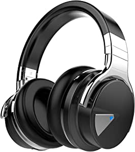 COWIN E7 Wireless Bluetooth Headphones with Mic Deep Bass Wireless Headphones Over Ear, Comfortable Protein Earpads, 30 Hours Playtime for Travel/Work/TV/Computer/Cellphone (Black)