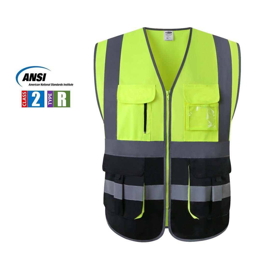JKSafety Multi Pockets Class 2 High Visibility Zipper Front Safety Vest With Reflective Strips.Meets ANSI/ISEA Standards (Yellow-Black L) by JKSafety (Image #1)